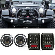 Jeep Halo Led Headlights Replacement with Rear Brake Tail Light Kit for Wrangler