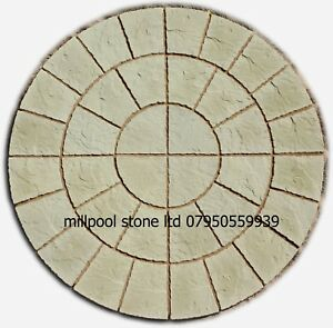 1.8M BUFF ROTUNDA CIRCLE PATIO PAVING SLABS GARDEN STONES [DELIVERY  EXCEPTIONS]