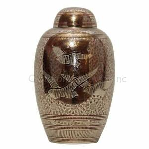 Large Adult Cremation Urns - Dome Top Going Home Doves Red Memorial Urn