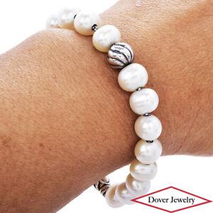DAVID YURMAN Pearl Sterling Silver Bead Bracelet 23.5 Grams NR