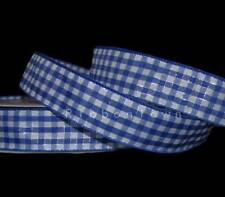 """5 Yards Royal Blue White Silver Gingham Plaid Wired Ribbon 1 1/2""""W"""