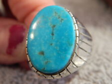 Mens Sterling  Silver Kingman Turquoise  Inlay Ring Navajo Ray Jack Size 13 1/4