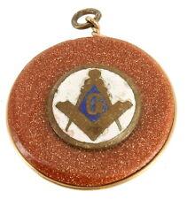 "Antique Victorian Enamel Masonic Blue Lodge Gold Stone Watch Chain Fob 1.25"""