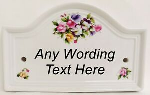 Personalised Sweet Pea Ceramic Bridge House Door Plaque Sign Any Text & Number
