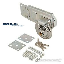 Silverline Stainless Disc Padlock & Steel Hasp 2pce shed workshop lock 492211
