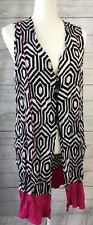 CLARITY Size S 10 Beach Kaftan Black White Fuchsia Vest Cover Up Zebra Australia