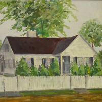 Vintage Original House Landscape Oil Painting on Board White Picket Fence Signed