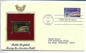 US1986 public hospitals  serving people 22 kart gold replica stamp golden cover