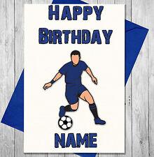 football personnalisé Carte d'anniversaire pour les garçons Men PAPA FILS - Bleu