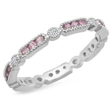 0.50 CT 14K White Gold Pink Sapphire And White Diamond Wedding Eternity Band