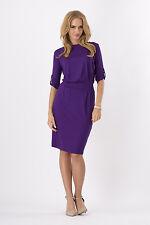 Ladies Plain Pencil Dress With Belt Boat Neck Office Tunic Plus Size 8 - 18 8986 Violet 18 UK (xxxl)