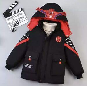 Winter Boys Spiderman Hooded Jacket Winter Coat Parka Outerwear NEW