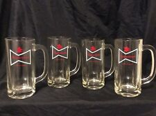 4 heavy Vintage Budweiser white bow tie logo Glass Beer Mugs R1