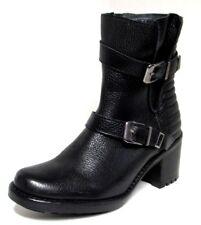 BOTTINES A TALON STYLE MOTARD 37 cuir grainé noir argenté zip REQINS femme NEUF