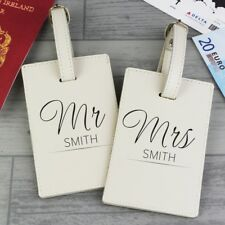 Personalised Mr & Mrs Luggage Tags Gift Set Honeymoon Holiday Travel Same sex