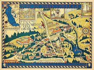 1920 Pictorial Map Mills College Campus Oakland California Reprint Art Poster