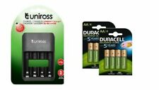 UNiROSS COMPACT FAST LED AA & AAA CHARGER  + 8 x AA 2500 DURACELL RECHARGEABLES