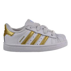 Adidas Superstar Toddler Shoes White-Metallic Gold-Blue-Scarlet b39401