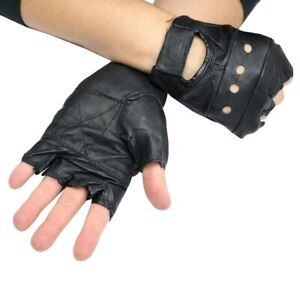 Men's Black Leather Fingerless Gloves Workout Exercise Motorcycle Biker Hiking