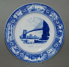 Vintage Wedgwood Long Island Commemorative Ceramic Plate With Brooklyn Bridge