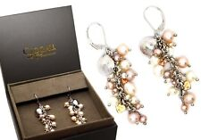 Clogau Silver and 9ct Rose Welsh Gold Beachcomber Pearl Dangle Earrings rrp £250
