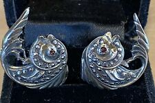 Antique Sterling Silver Marcasite Art Nouveau Deco Earrings Fish Ruby Screw Back
