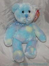 "NEW 2007 TY Beanie Babies Plush 8"" Blue Tie Dye LAGUNA The BEAR w/Bubble Bow"
