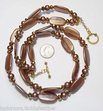 Striking 2-Strand Necklace, Large Coppery Brown Beads,Bronze Crystals 22 & 25.5""