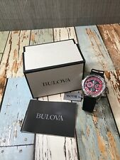 BULOVA MENS MARINE STAR SILVER / RED CHRONOGRAPH DATE RUBBER WATCH 96B186 *Read*
