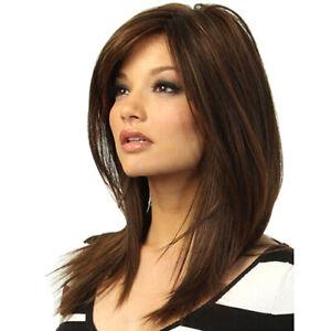 AU_ Women Natural Human Hair Wigs Dark Brown Long Straight Partial Bangs Ladies