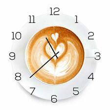 Wall Clock Made of Glass 30x30cm Watch as Kitchen Cappuccino Coffee Decor