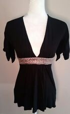 Sky Top Deep V Neck Black Silver Belting accent Size XS