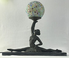 "Antique Lamp ""Lady with the lamp"" Art Deco with Millefiori ball"