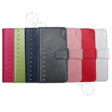 Wallet Folio Case Cover Card Slots for iPhone 5 5S SE 6 6S Black Blue Green Pink