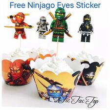 12x Ninjago LEGO Cupcake Toppers + 12x Wrappers. Party Supplies Lolly Loot Bag