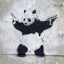 "Banksy, Pandamonium, 12""x12"", Graffiti Art, Giclee Canvas Print"