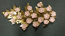 Mid Century Modern Metal Wall Sculpture With Gold Leaves & Pink Painted Flowers