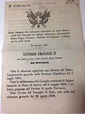 Regio Decreto 29/11/1872 Riconoscimento terre demaniali di Spigno Saturnia -735