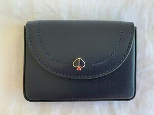 KATE SPADE NEW YORK WOMENS SMALL NAVY BLUE LEATHER WALLET CARD CASE HOLDER