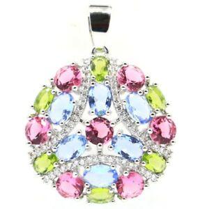 Multi Color Tourmaline Peridot Violet Tanzanite CZ Silver Pendant