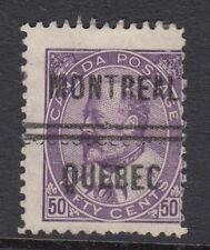 CANADA 1908 EDVII 50c DEEP VIOLET  SG187 Good Used with unusual cancel