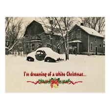 "*Postcard-Christmas-""I'm Dreaming of a White Christmas"" /Car in Snow/ (B-130)"