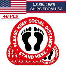 40/Pack 6Feet Keep Distance Social Distancing Sign Stickers Floor Ground Decal