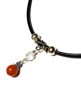 Black Real Leather Choker Orange Agate Gemstone Necklace Pendant Retro Hippy