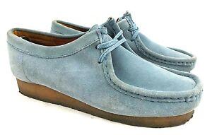 Clarks Wallabees Women 10 M Light Blue Suede Leather Lace Up Crepe Comfort Shoes