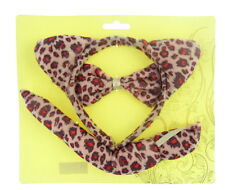 Pink Animal Print Set Leopard Ears Tail Bow Tie Fancy Dress Outfit Hen Night