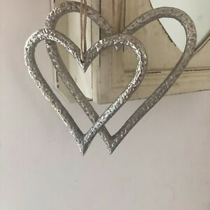 Large Rustic Textured Raw Nickel  Heart Hanging Decorations in 2 sizes