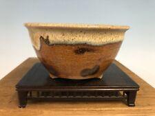 "Brown White Round Glazed Shohin Size Bonsai Tree Pot Fugushige Bushuan 5 1/16"""