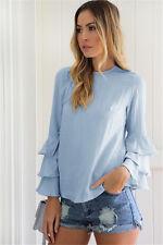 UK Womens Long Sleeve Chiffon T-Shirt Ladies Summer Loose Tops Blouse Plus Size