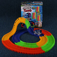 Magic Tracks Amazing Racing 2 Cars&165 Pieces Bend Flex Twister Glow in the Dark